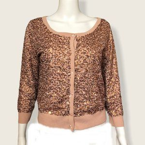 American Eagle Outfitters Copper Sequin Cardigan